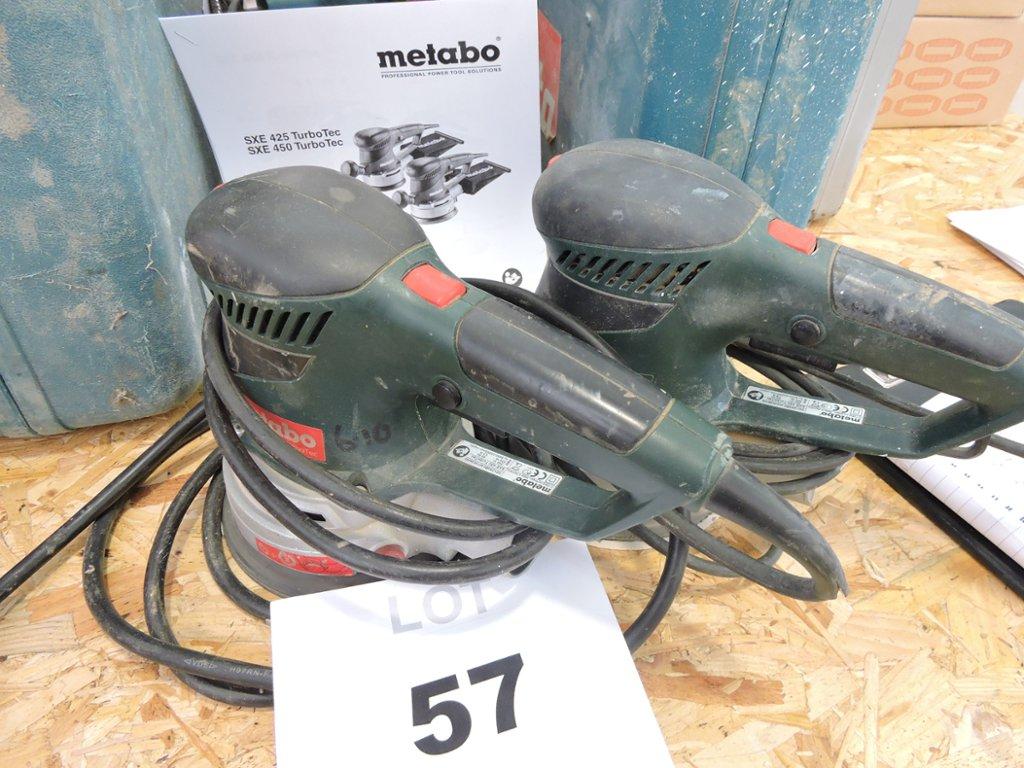 two metabo sxe 450 turbotec orbital disc sanders